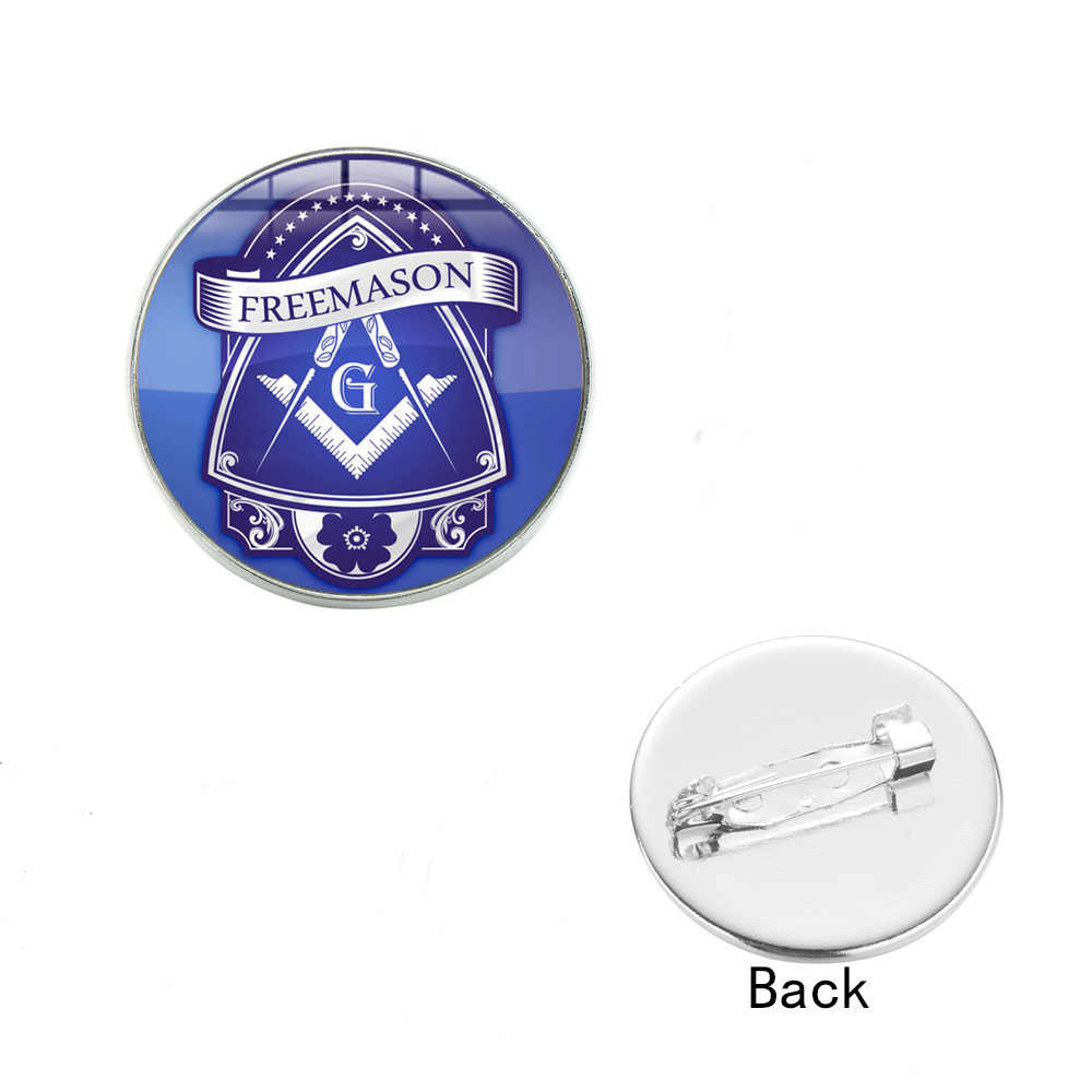G e bússola azul redondo ícone cúpula de vidro broche lembrança para pedreiro freesonry
