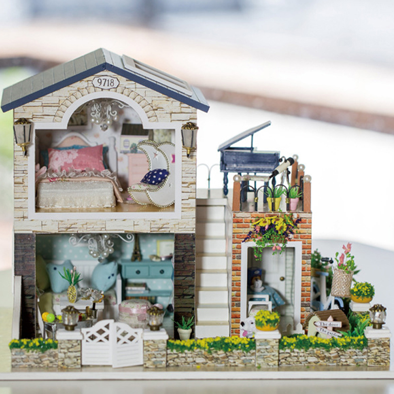 DIY DollHouse Miniature With Furnitures LED Light Wooden Doll House Villa Model Toys Gift Ireland Romantic Country 13839 #D