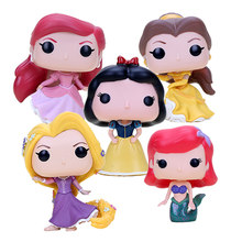 10cm Princess Dolls Snow White Mermaid Beauty and the beast Ariel Cinderella Rapunzel Tiana Vinyl Collectible Model Doll(China)