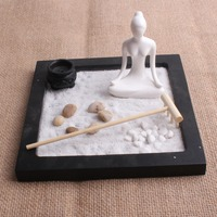 Mini Zen Garden Fengshui Resin Crafts Folk Art Home Decoration Without Sand With Stone