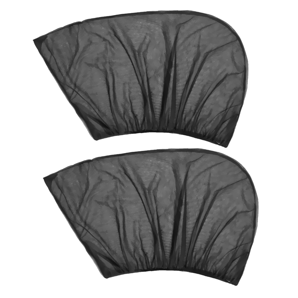 2 Pieces Adjustable Auto Car Rear Side Window Sun Shade Black Breathable Mesh Cover Visor  Heat Shield With Self-Adhesive Strip
