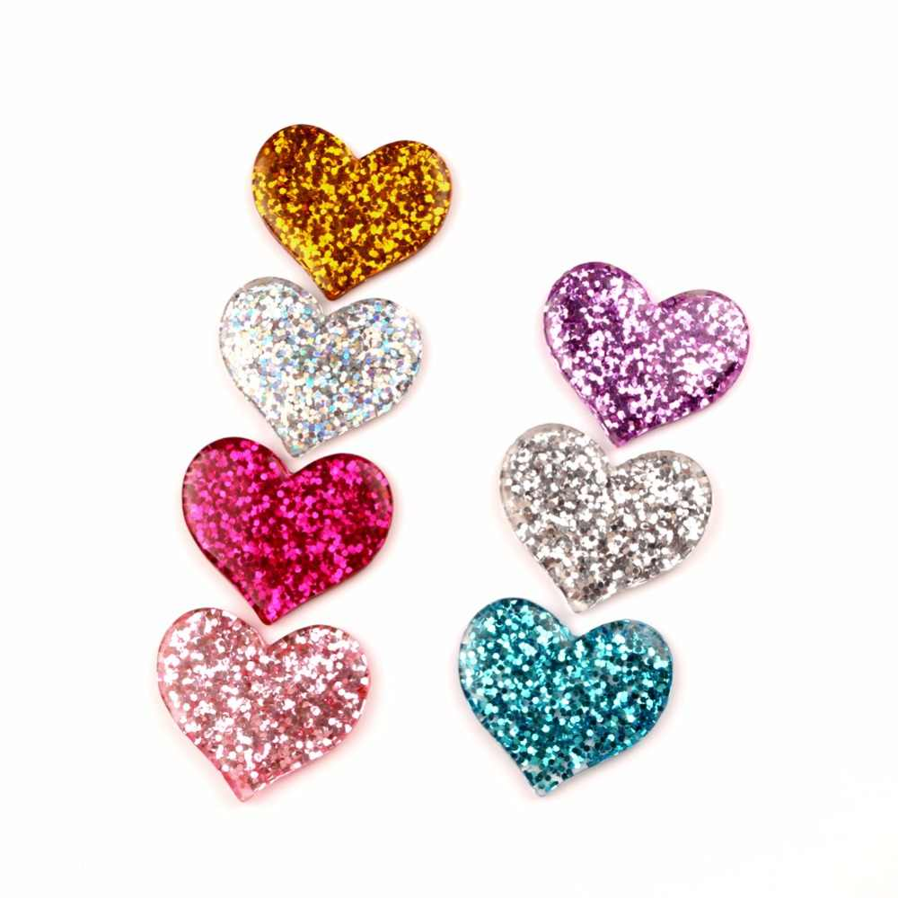 LF 20Pcs Resin Bling Heart Decoration Crafts Flatback Cabochon Embellishments For Scrapbooking Kawaii Cute Diy Accessories