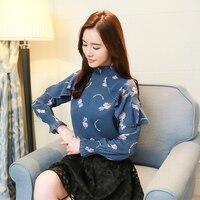 2018 Spring Women S New Girl Printed Shirt Coat Chiffon Shirt Long Sleeved Ruffles Shirt Small
