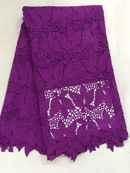 Hot sale purple color african cord lace fabric with maple leaves embroidery water soluble guipure lace for party dress DW3-1