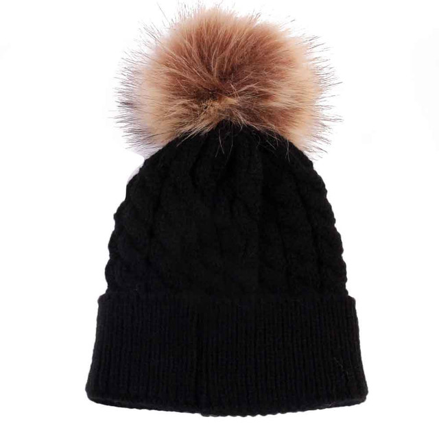 Free Shipping Black Color Newborn Cute Winter hat for newborn Baby Hat Fur  Ball Pompom cap Knitted Wool Children s Hats Caps 6fbf648beb1