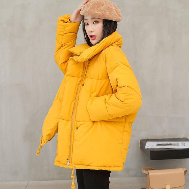 96abedcdb0e6 2018 Winter Coat Women Solid Outwear Medium-Long Wadded Harajuku Snow Parka  thickness Cotton Warm