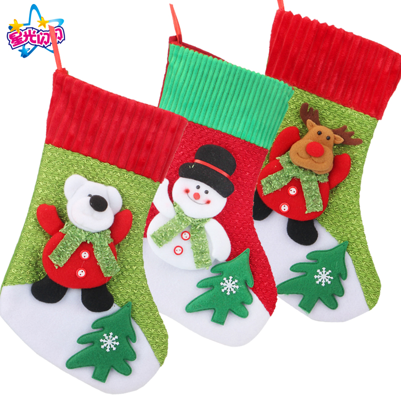 New Year Christmas Stocking as Gift Bag Noel Reindeer Santa Claus Snowman Socks natal Xmas Tree Candy Ornament Decorations Home