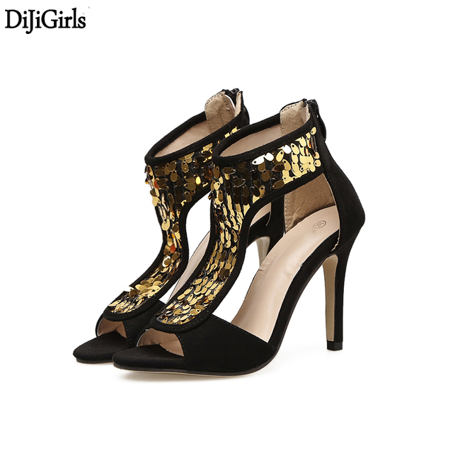 66e56706142 US $32.86 |Ladies Shoes Summer Women Sexy Party Dress High Heel Sandals  Black Suede Bling Women Shoes Fashion Thin Heels Sandals-in High Heels from  ...