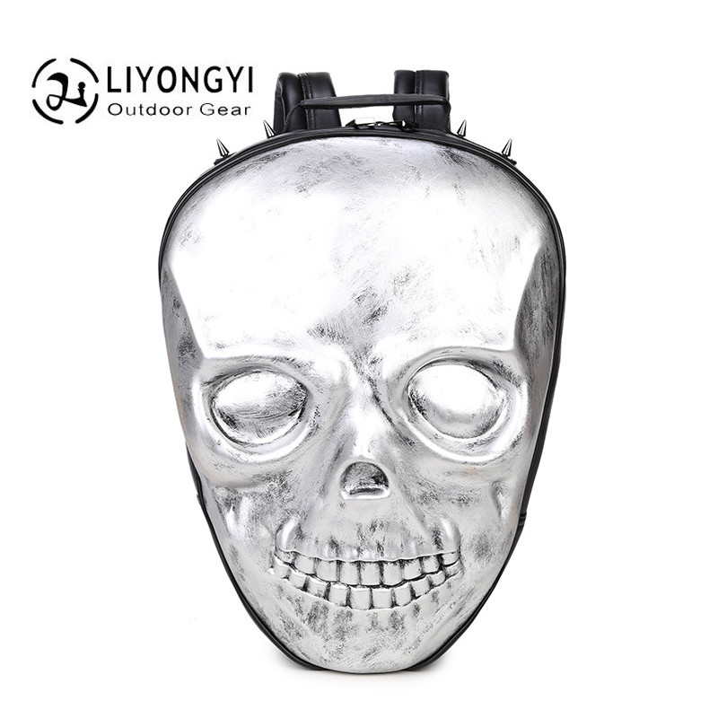 2017 Large Capacity 3D Skull Men Cool Backpack School Backpacks Bags PU Leather Women Shoulder Bag Travel Backpack For Teenages new gravity falls backpack casual backpacks teenagers school bag men women s student school bags travel shoulder bag laptop bags