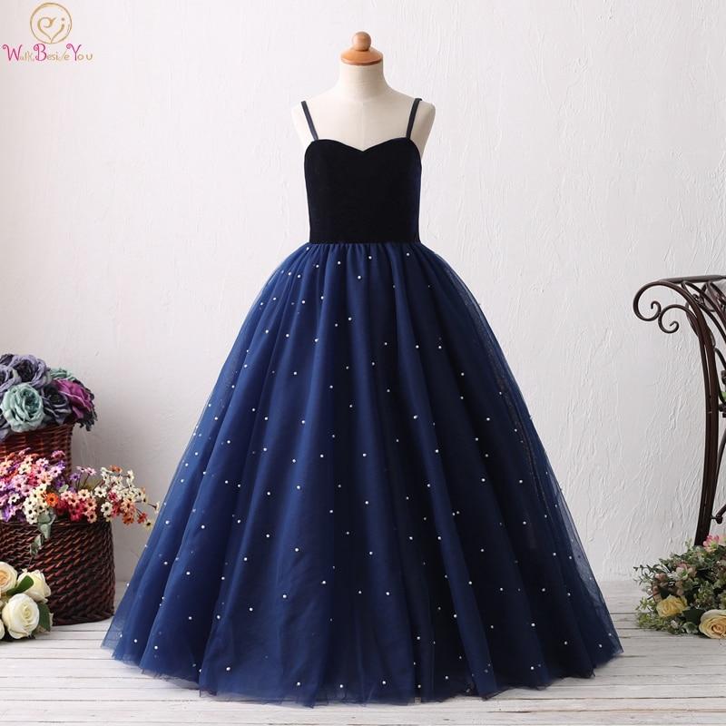 2019 Navy Blue Spaghetti Straps Ball Gown   Flower     Girls     Dresses   Elegant Birthday Party First Communion vestido Gowns For Wedding