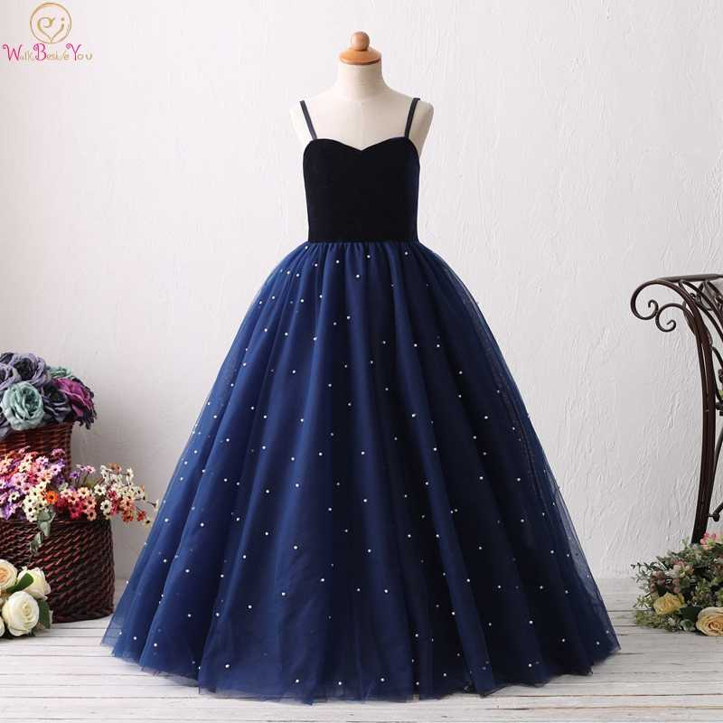 2019 темно-синие Бальные платья на бретельках с цветочным узором для девочек элегантные платья на день рождения для первого причастия vestido для свадьбы