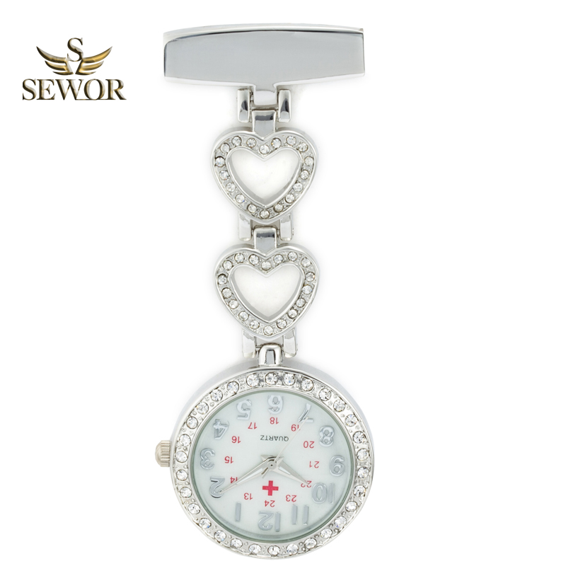 SEWOR 2019 Luxury Womens Quartz Perawat Pendant Jam Tangan Chic Jantung Stainless Steel Kristal Pocket Watches Wanita Favorit C178