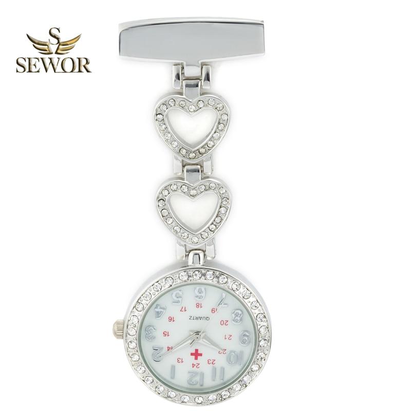SEWOR 2019 Luxury Womens Quartz Nurse Pendant Watches Chic Heart Stainless Steel Crystal Pocket Watches Ladies Favorite C178