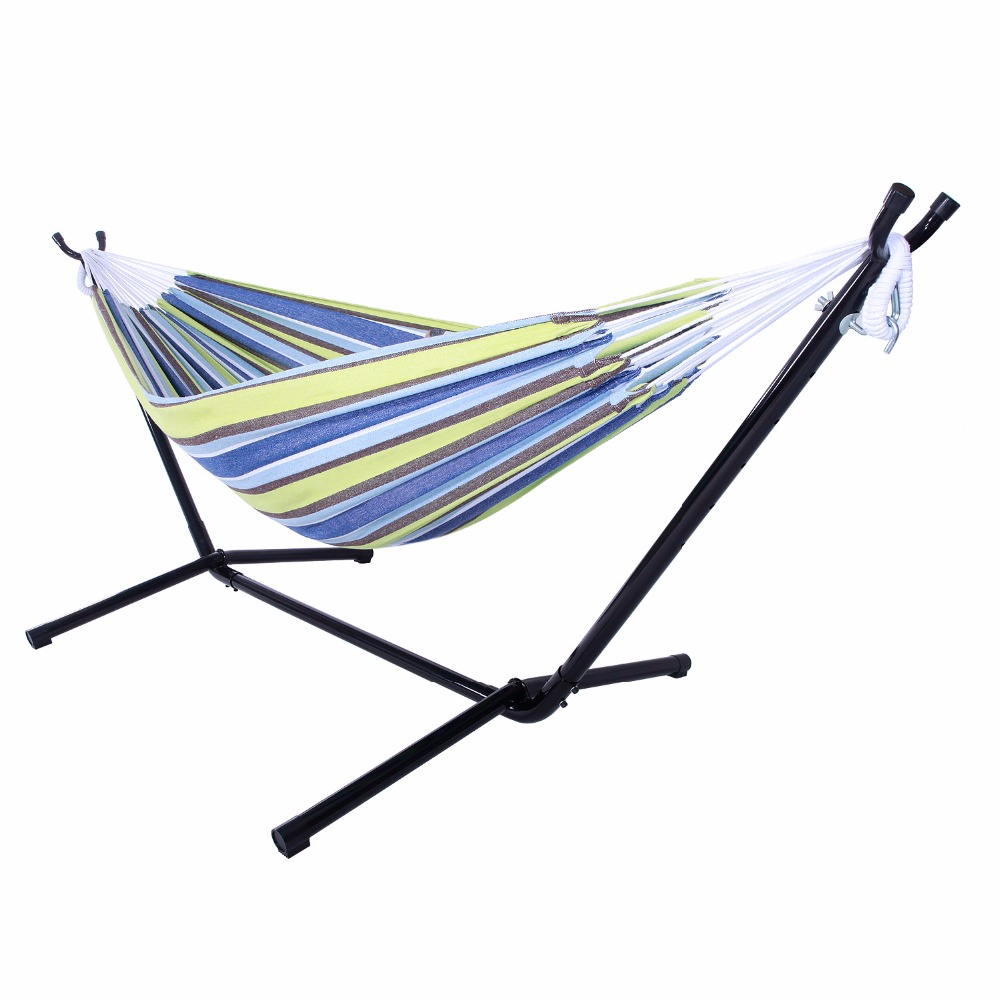 Polyester Outdoor Portable Hammock Set with Stand HOT SALE hammock accessory portable hammock stand black background