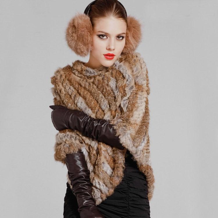Herbst Winter Damen echte 100% echte gestrickte Kaninchenfell Poncho - Bekleidungszubehör - Foto 2