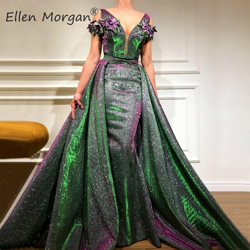 Glitter Saudi Arabian Mermaid Evening Dresses 2019 Dubai Kaftan Moroccan Lace Removable Skirt Runway Fashion Formal