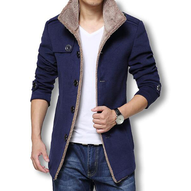 Jaquetas E Casacos de inverno Longo Casaco de Lã Dos Homens Slim Fit Mens  blusão de 14dd629b484