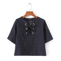 2017 Sexy Hollow Lace Embroidery Crop Blouse Lace Up Short Sleeve Navy Blue Shirts Women Tops