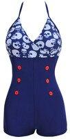 NWT Mulheres Sexy One piece Swimsuit Impressão Botão Querida Swimwear Com Tiras Plus Size M ~ 4XL