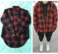 Autumn winter thick Flannel long sleeve Plaid shirt men and women circarc oversize sweep plaid low-high FOGD Shirt Man US SIZE