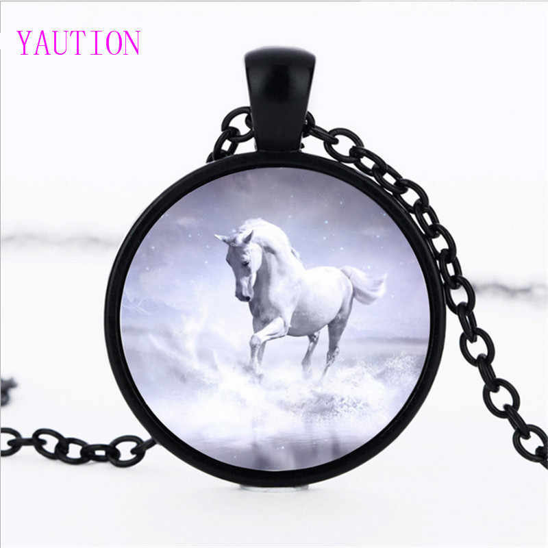 3 Color Unicorn Photo Necklace Horse Jewelry Glass Cabochon Pendant Chain Neckless Women Fashion Handmade Jewelry