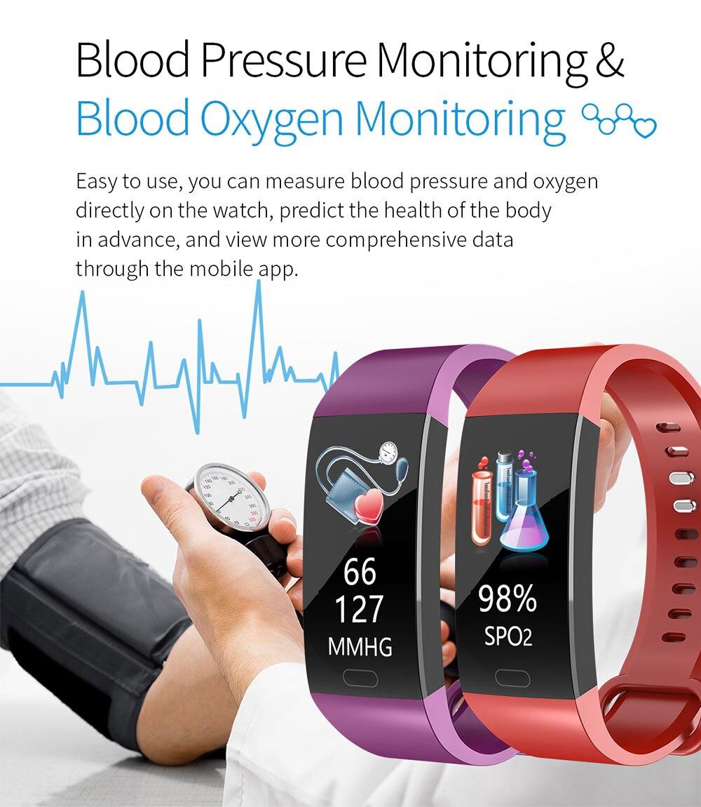 HTB1ybcQbfb2gK0jSZK9q6yEgFXaE Smart Bracelet Blood Pressure Measurement Fitness Tracker Watch Waterproof Heart Rate Monitor Smart Wristband Women Men Watch