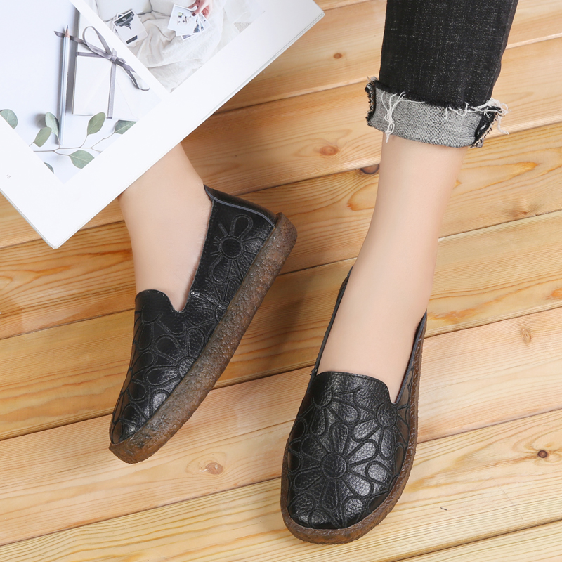 Image 4 - AARDIMI 2019 Floral Genuine Leather Casual Flats Shoes Woman Spring Autumn Espadrilles Women Mocassin Femme Zapatos Mujer-in Women's Flats from Shoes