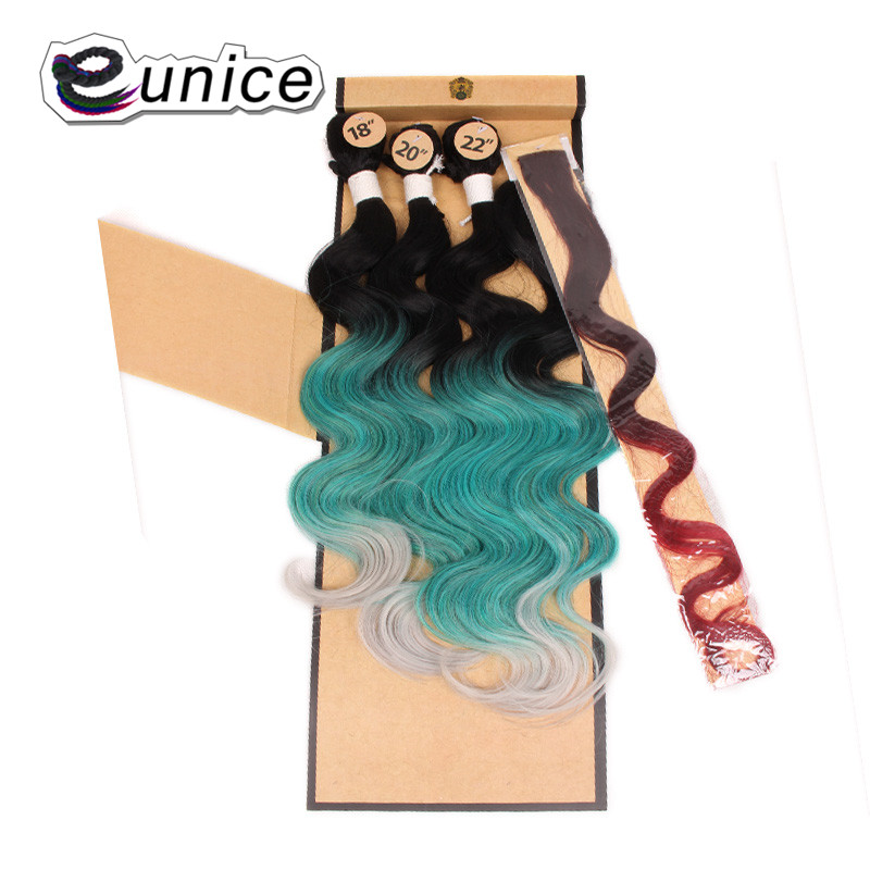 Synthetic Hair Extensions With One Closure Natural Body Wave Weft Hair Weaving Ombre Hair Weave  (54)