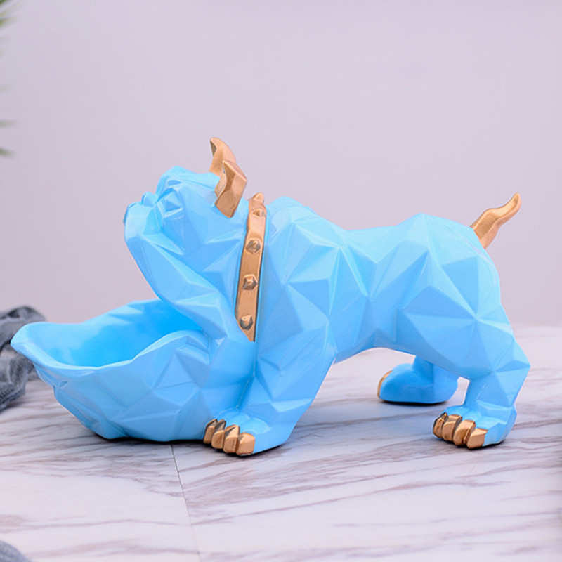 Geometric Animal Bulldog Storage Box Resin Candy Key Storage Art Home Decoration