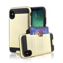 Card Pocket Wallet ShockProof Rugged Dustproof Hybrid Armor Brushed Phone Hard Back Case Cover for iPhone 8 7 Plus 5s 6s