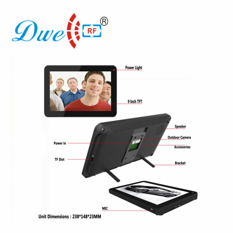 9 inch Color Touch Screen Record Video Door Phone intercom System with IR camera max to support 32G SD card DW-906R