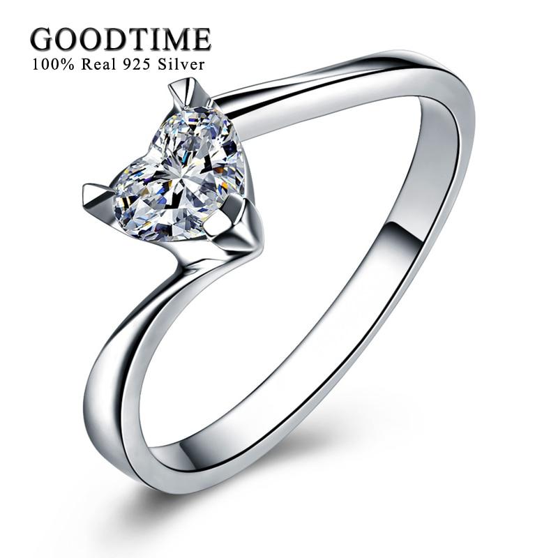 Romantisks sirds cirkonija kāzu gredzens Soild 925 sudraba - Skaistas rotaslietas - Foto 2