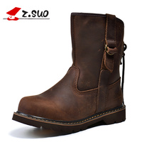 Z.SUO Brand Women's Autumn/Winter Crazy Horse Leather Martin Boots Strong Woman Medium leg Individual Shoelaces Motorcycle Boots