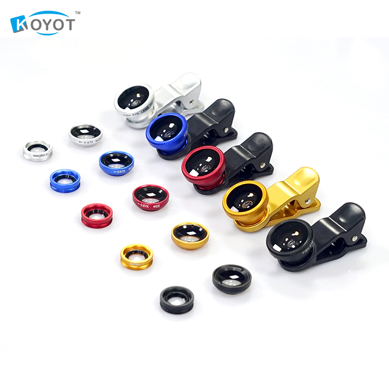 HOT SELL KOYOT Universal Clip 3 in 1 Fish Eye Wide Angle Macro Fisheye Mobile Phone Lens For iPhone 6 5 5S Samsung HTC GN