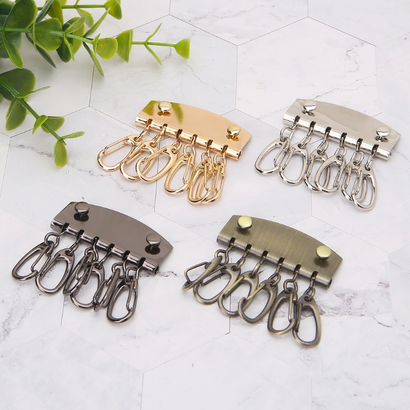 THINKTHENDO DIY Lobster Clasps Clips Bag Key Ring 6 Hook Keychain Purse Wallet Accessories