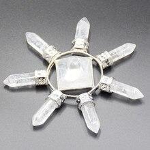 Gerador de energia de cristal de pirâmide, pedra de quartzo natural branca, reiki chakra, 7 pontos, equilibramento espiritual, meditação de cura