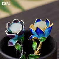 S925 pure silver female models inlaid with natural stones lotus pendant Thai silver delicately burnt blue brooch