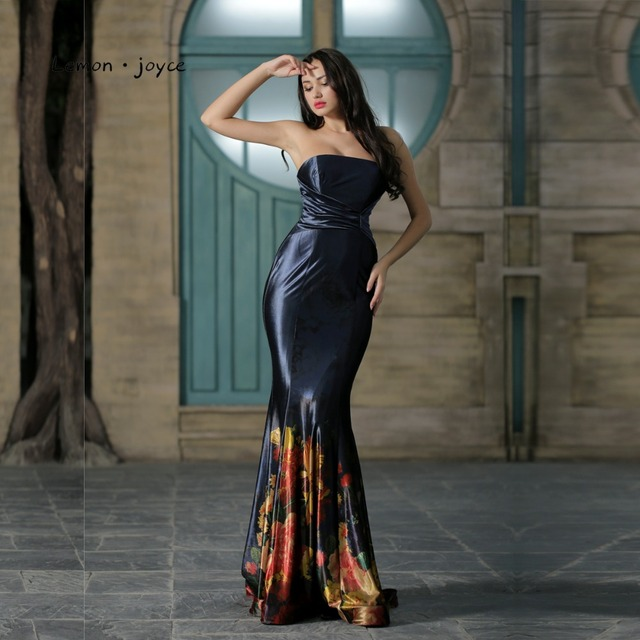 03a2b2538b9 Elegant Evening Dresses for Women Floral Print Strapless Simple Mermaid  Long Prom Party Gowns abendkleider Plus Size