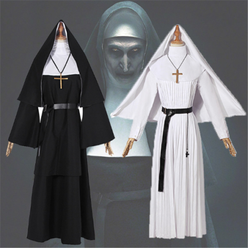 New The Conjuring Scary The Nun Valak Sister Irene Dress Cosplay Costume Halloween Women Dress