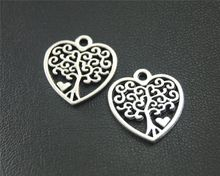 40pcs Antique Sliver Heart Love Tree Charm Pendant DIY Necklace Bracelet Bangle Finding 18x19mm A1841(China)