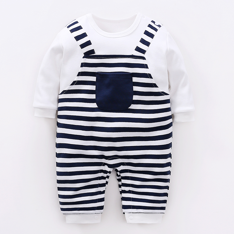 IGREL Newborn Baby Romper Striped Long Sleeve Jumper Cotton Toddler Clothes O-Neck Kids Clothing Summer Costume Boys Girls Suit