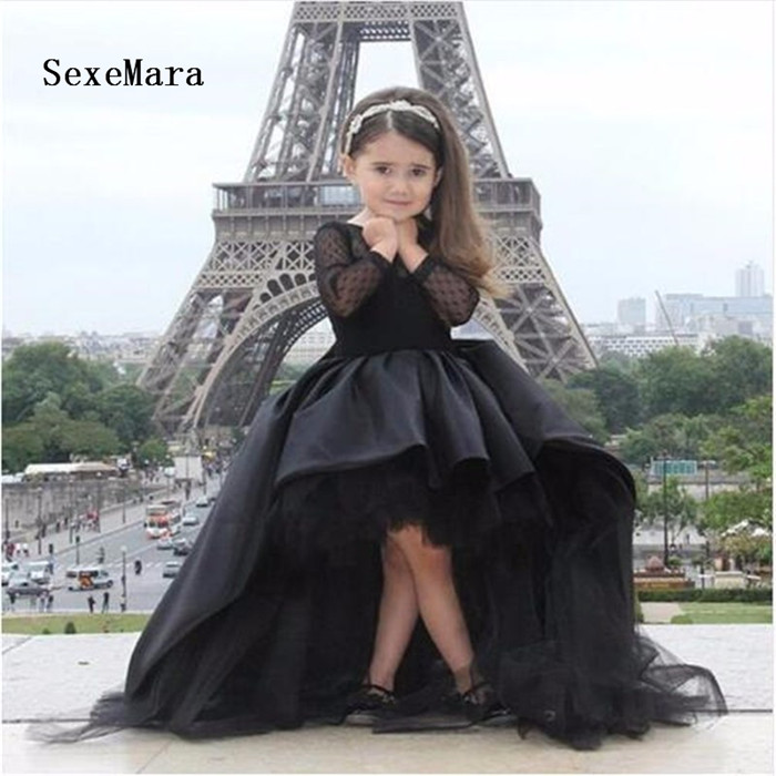 Black High Quality Flower Girls Dresses Long Sleeve with Sweep Train Cute Girls Birthday Party Dress Pageant Gown Custom Made Black High Quality Flower Girls Dresses Long Sleeve with Sweep Train Cute Girls Birthday Party Dress Pageant Gown Custom Made