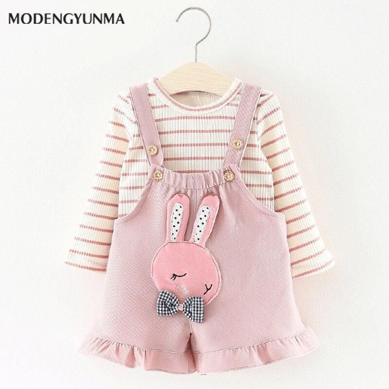 Nerlero Baby Dresses 2018 Cartoon cute rabbit Baby Girls Clothes Printing Girls Party Dress Princess Dress Suit Newborn Dress