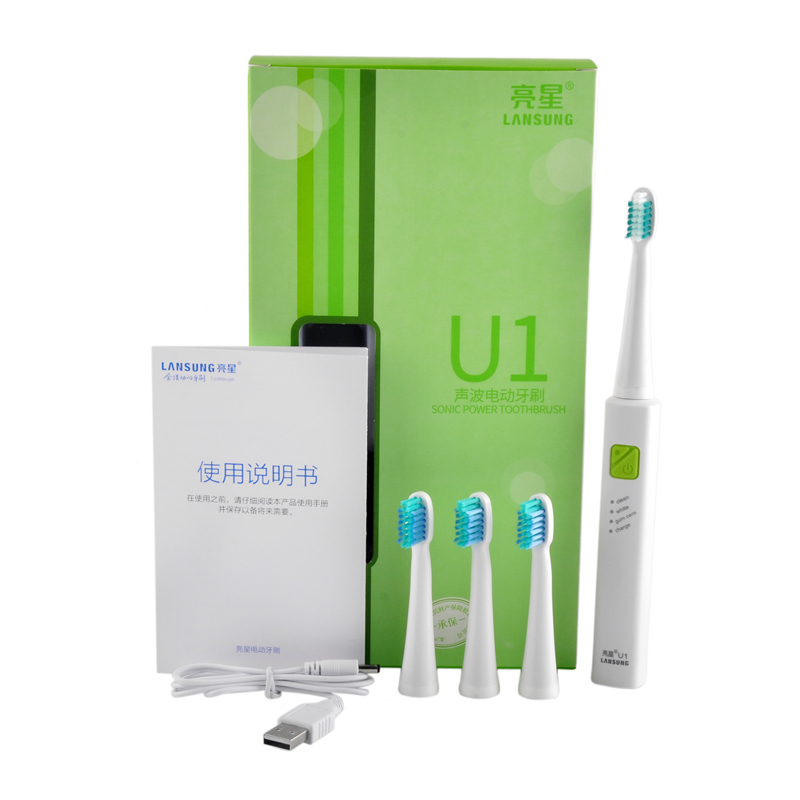 USB Charge LANSUNG Ultrasonic Sonic Electric Toothbrush Rechargeable Tooth Brushes With 4Pcs Replacement Heads U1 Timer Brush