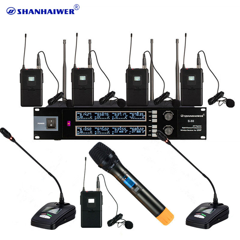 factory sale professional 8 channels uhf karaoke wireless microphone with headset lavalier. Black Bedroom Furniture Sets. Home Design Ideas