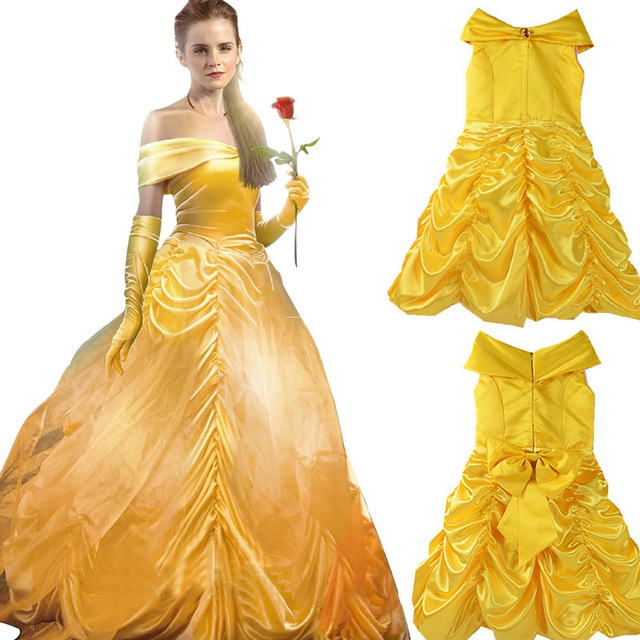 Sexy Beauty And The Beast Girl Children Women 2018 Cosplay Belle Yellow  Dress Kids Girl Costumes Plus Size Party Prince Wedding 3240862b52c5