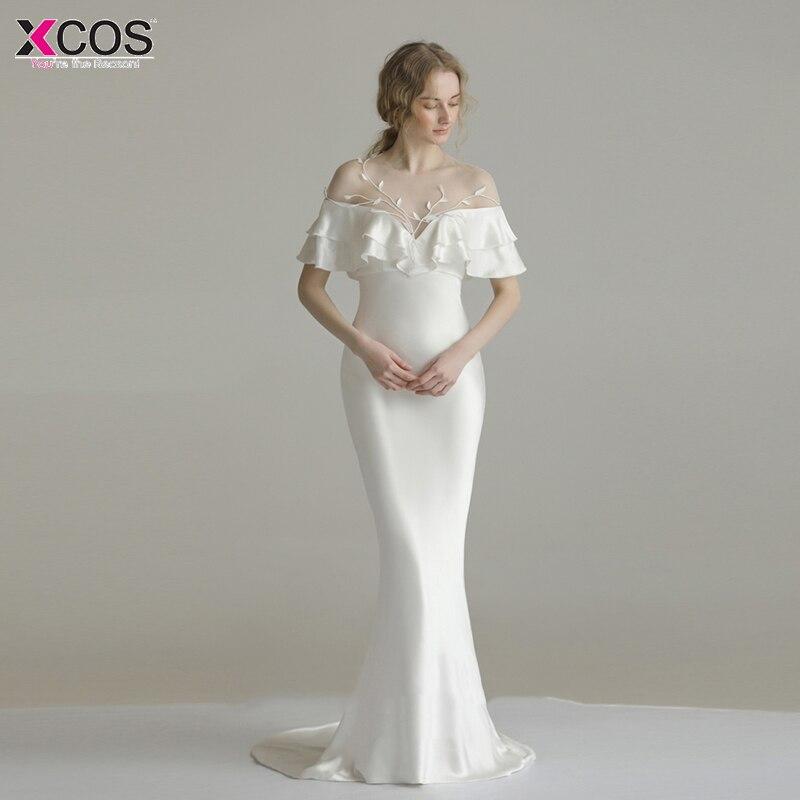 2018 Simple blanc célébrité robes Sexy chérie tapis rouge robe longue sirène formelle robes de soirée