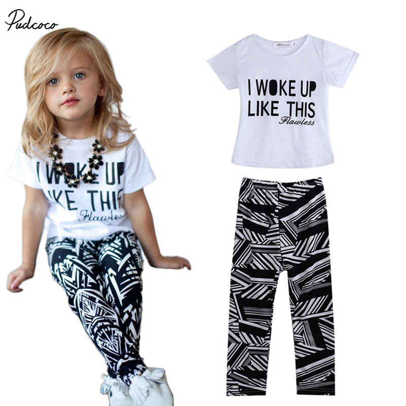 2017 Baby Girls Zebra-stripe White T-Shirt+Pants Two-pieces Outfits Set 2-9Y new baby character dinosaur overalls white t shirt lovely baby costumes baby outfits