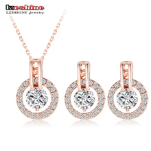 LZESHINE New 2016 Big Sale Wedding Jewelry Sets Rose Gold Color Necklace/Earring Bijouterie Sets for Women Aretes ST0017-A