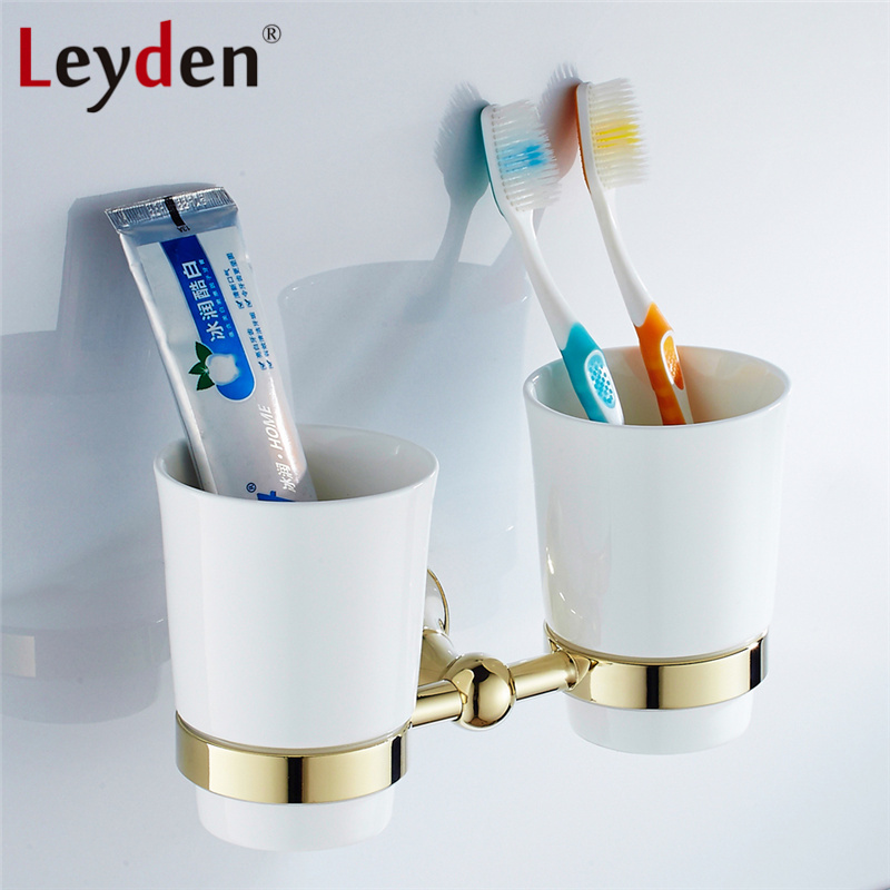 Leyden Luxury Double Cup Tumbler Toothbrush Tumbler& Cup Holder ORB/ Antique Brass/ Golden/ Chrome Wall Mount Bathroom Accessory leyden new brass oil rubbed bronze double toothbrush tumbler holder wall mounted toothbrush holder with cup bathroom accessories